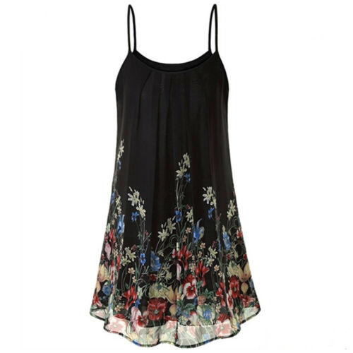 Plus Size Womens Floral Chiffon Sling Mini Dress Ladies Summer Casual Loose Tops
