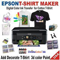 1 T-shirt Maker Printer Transfer 100% Cotton Bulk Ink +decorate T-shirt 3d Paint