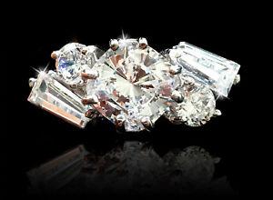 1.5 Kissen Freie Form Ring Brillant Top Qualität Cz Moissanit Simulans 9