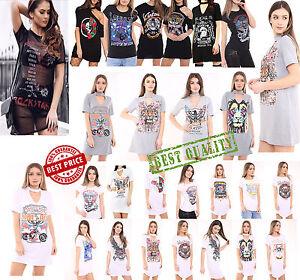 Women-039-s-Ladies-Choker-Neck-Short-Sleeve-Slogan-Printed-Longline-T-Shirt-Dress
