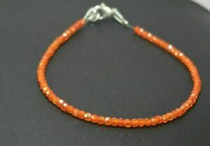 925-Sterling-Silver-7-034-Strand-Bracelet-3-mm-Orange-Zircon-Gemstone-Beads-UJN178