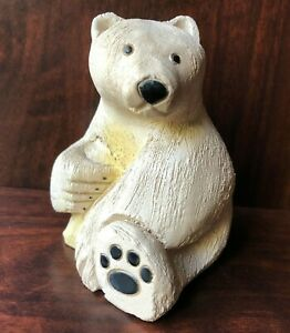 "Artesania Rinconada Polar Bear Sitting Female 3.5"" Ceramic Figurine Uruguay #79"