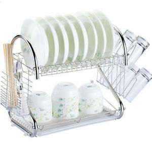 Durable-2-Tiers-Dish-Cup-Drying-Rack-Holder-Organizer-Drainer-Dryer-Tray
