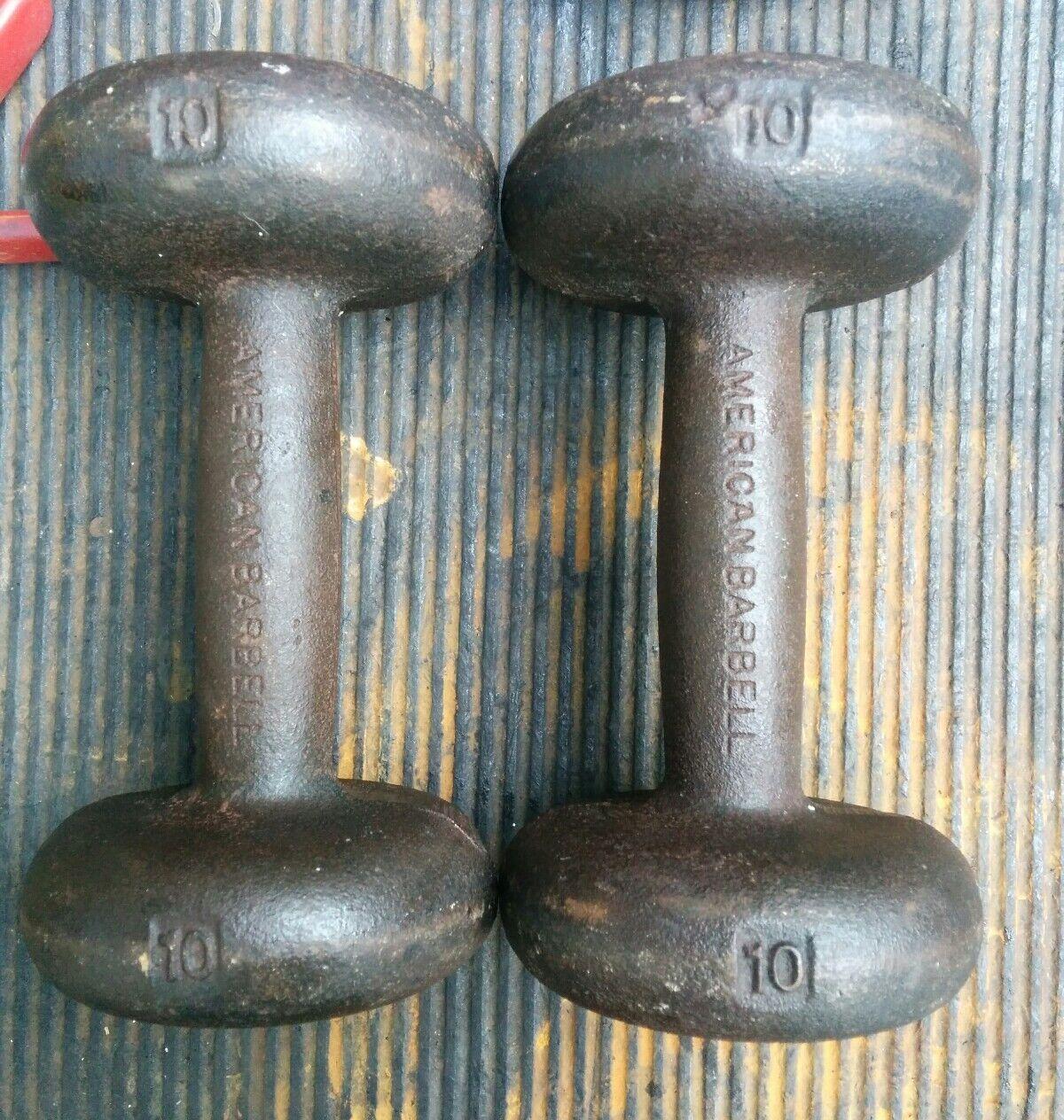 American Barbell 10 pound Pair Bun Dumbbell Rare Dumbell Globe 2x10 lbs