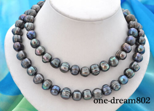 """34/"""" 13mm baroque black freshwater pearl necklace"""