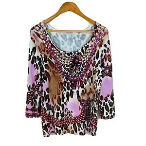 Queenspark-Womens-Top-Size-XL-Retro-Abstract-Design-Long-Sleeve-Gems-Stretch
