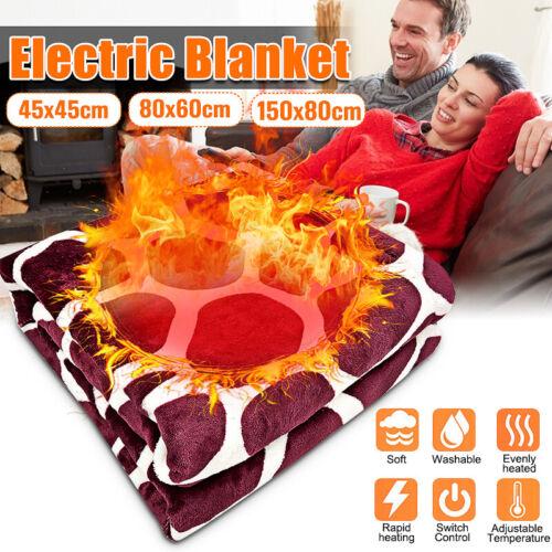 Electric Heated Throw Over Under Blanket Fleece Washable Polyester Warm Blanket