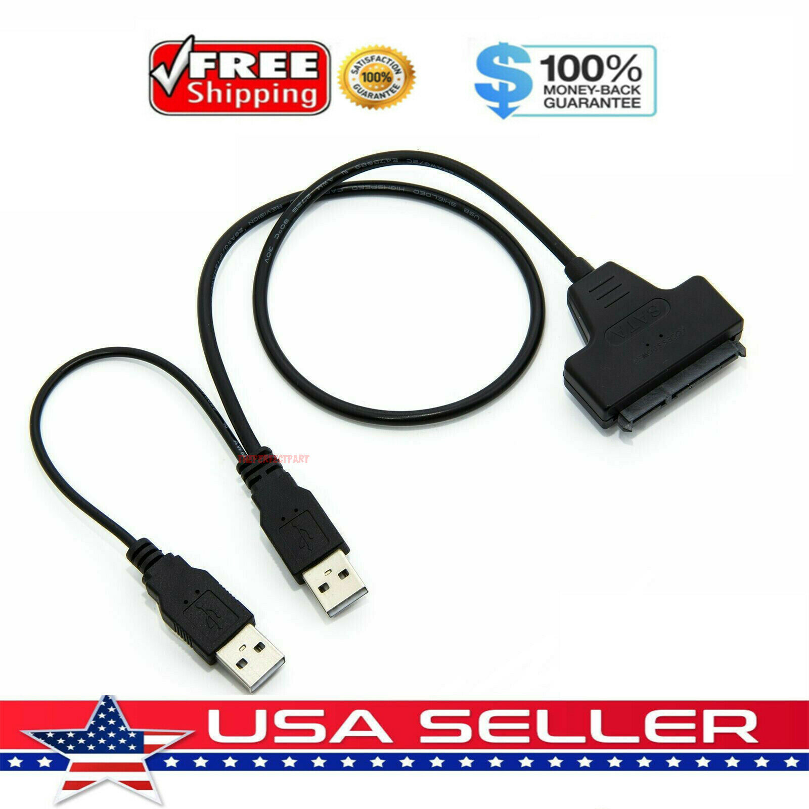 """USB 2.0 to SATA Serial ATA Adapter Cable For 2.5/"""" HDD SSD Laptop Hard Drive EP"""