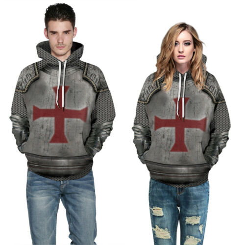 Mens Womens 3D Armor Graphic Hoodies Sweatshirt Pullover Hip Hop Hooded Jumper