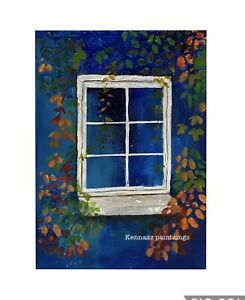 Cottage-Window-Original-Painting-By-Kenna-5-X-7-Canvas-Panel-Unframed