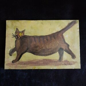 Cat-Original-Miniature-6-in-x-4-in-acrylic-painting-on-canvas-Gulchik