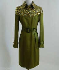 BURBERRY PRORSUM Olive Bright-Caper Green Gem Embellished Trench Coat 38  £2395