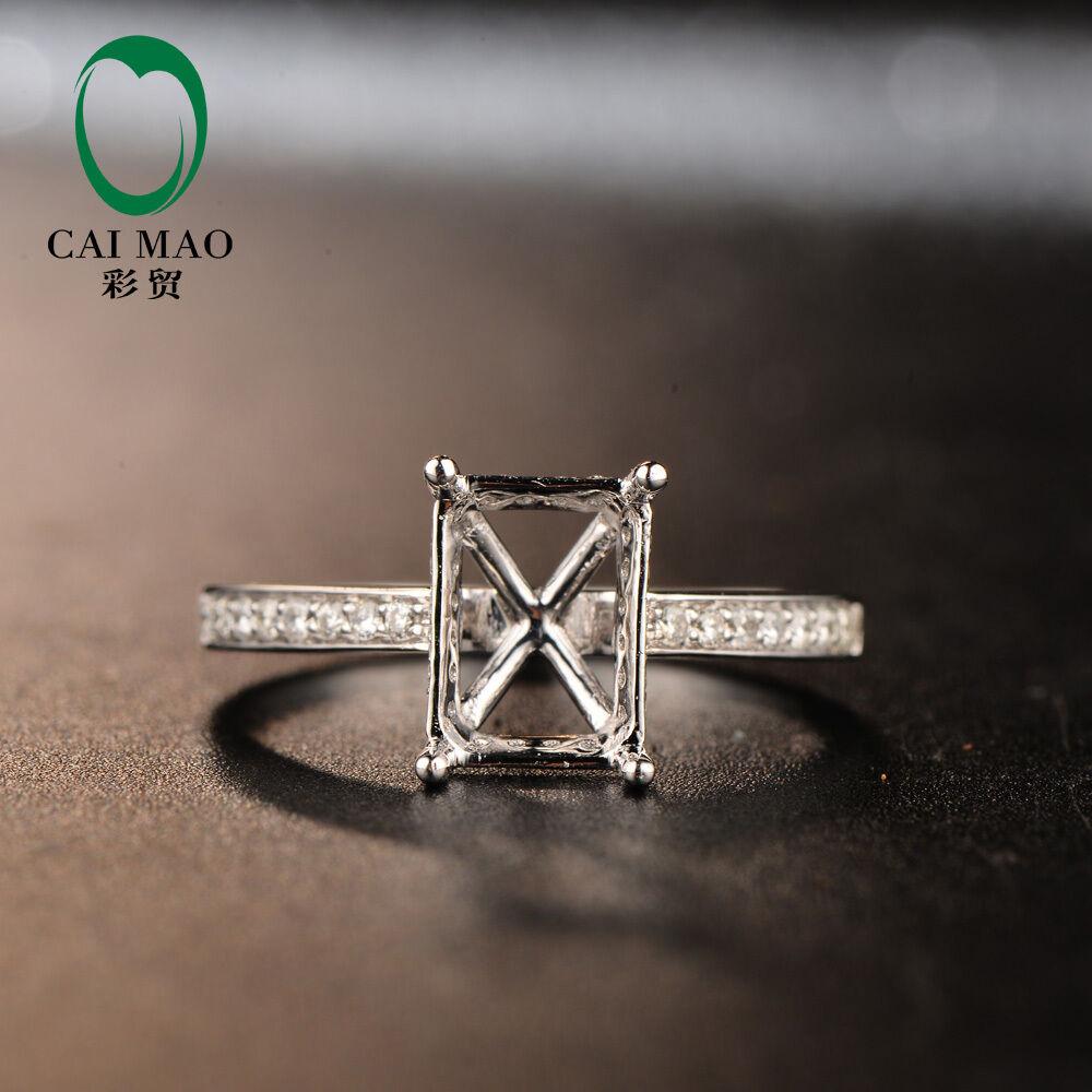 Unplated 18K Au750 White gold 6x8mm Emerald 0.22ct Natural Full Fut Diamond Ring