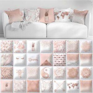 Pillow Case Rose Gold Geometric Pineapple Glitter Cushion Cover Sofa Decor Y1