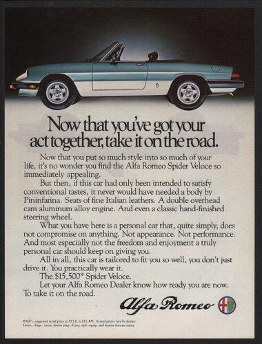 1983 ALFA ROMEO SPIDER VELOCE Convertible Sports Car VINTAGE AD