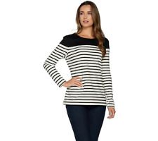 7775f3b6a99 Plus Top 1X Faux Suede Long Sleeve Snap Front Shirt Brown A280666.  16.99.  Free shipping. Denim   Co. Long Sleeve Striped Top With Solid Faux Suede  Yoke ...