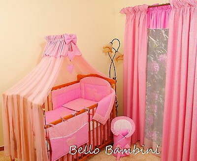 10p BABY BEDDING SET //BUMPER//CANOPY //ROD//DUVET//CANOPY 4 COT BED or COT PINK