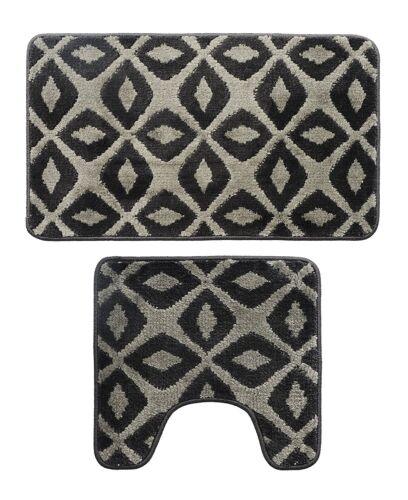 Microfiber 2 Pieces Rhombus Bathroom Bath Rug Pedestal Mat Set Black /& Gray