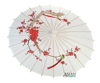 "32"" White Cherry Blossom Paper Parasol - handmade bamboo and rice paper umbrella"