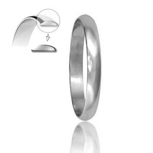 D shaped white gold wedding ring