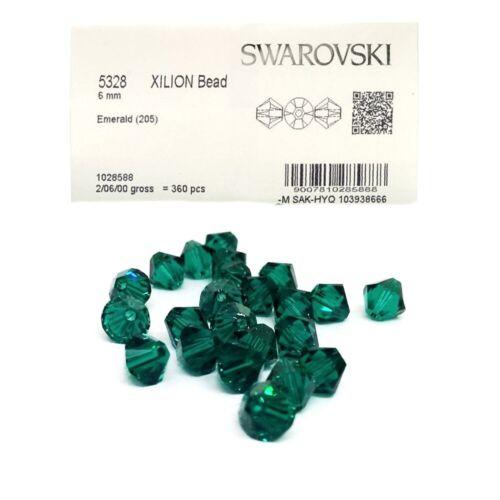 40 Swarovski perlas 4mm Emerald verde 5301//5328 Xilion bicone cristal perlas