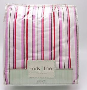 Girls-Cottage-Striped-Full-Bedskirt-Dust-Ruffle-Pink-White-Red-Cotton-New