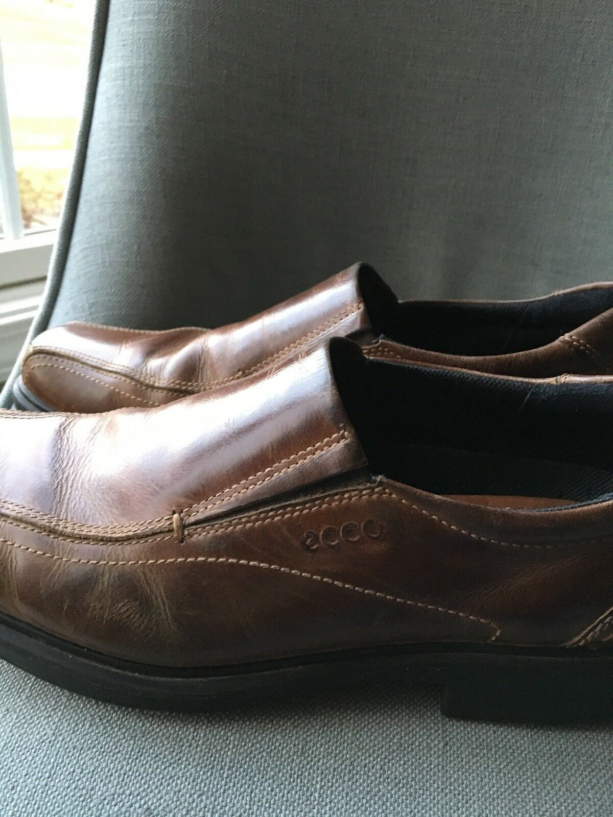 ECCO BROWN LEATHER SLIP ON GREAT SOLES LIGHT AND EASY SZ 44
