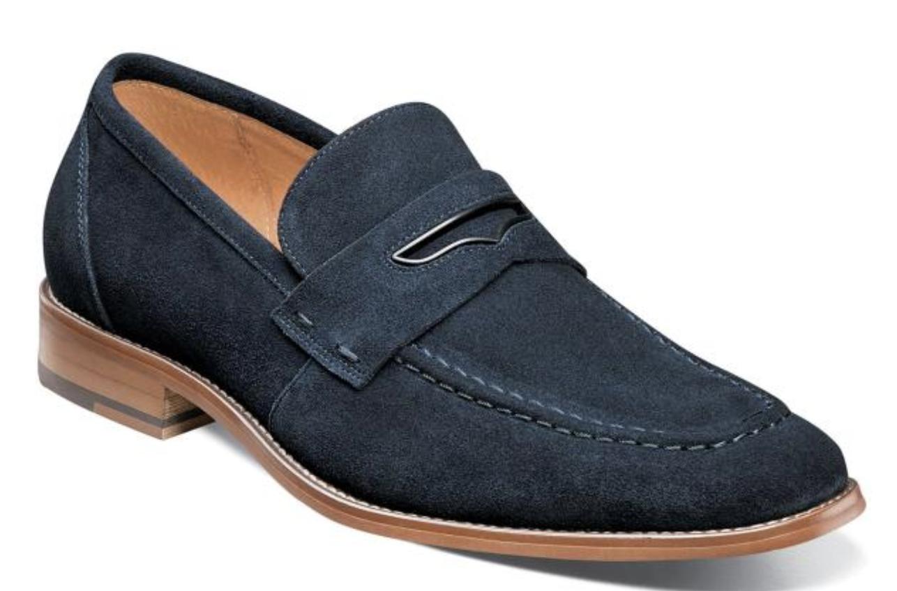 Stacy Adams Colfax Penny Mocassins Chaussures en daim bleu marine 25205-415
