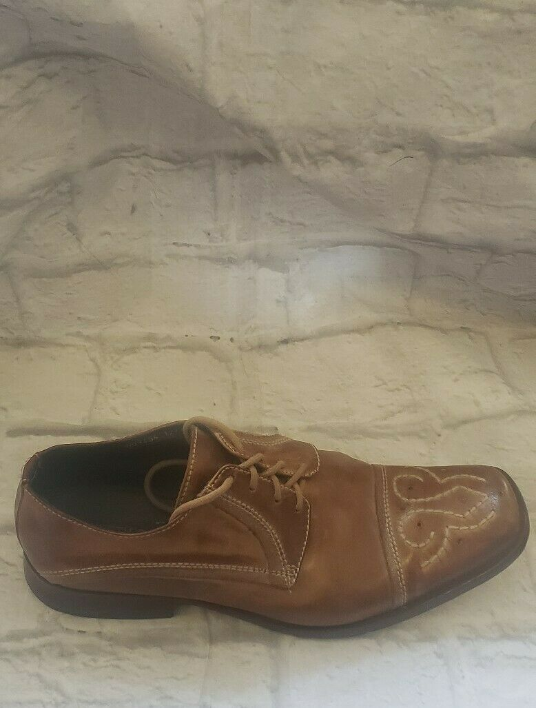 Kenneth Cole Reaction Mens Dark Tan Lace Up Shoes With Embroidery On Front...