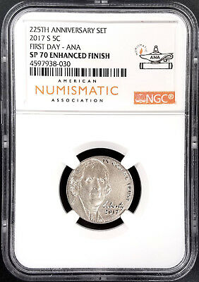 IN HAND 2017 S JEFFERSON NICKEL NGC SP70 ENHANCED FINISH FIRST DAY ANA 5C