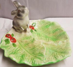 Vintage-Australian-Pottery-Wembley-Ware-Rabbit-on-Lettuce-Leaf-Dish-c1950s-stain