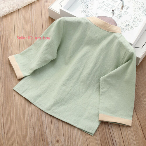 Kids Boys Girls Chinese Linen Tang Suit Outfits /& Sets Long Sleeves Baby Clothes