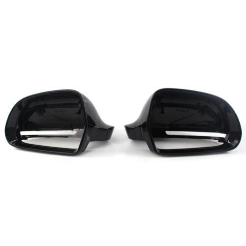 2Pcs Tapa Retrovisor De Ala espejo cubre lateral negro brillante para Audi A4 S4 A3 A5 A8 Q3