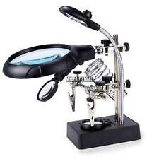 Aluminum Glass Helping Hand Soldering Stand With LED Light Magnifier Magnifying