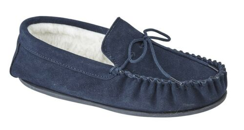 MOKKERS Mens Real Suede Moccasin Slippers Navy Brown Size 6 7 8 9 10 11 12 13 14