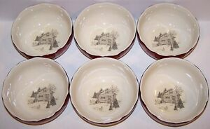 STUNNING-222-FIFTH-SET-OF-6-ANDOVER-RED-CHRISTMAS-HOLIDAY-SOUP-CEREAL-BOWLS