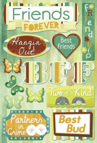 KAREN FOSTER DESIGN FRIENDS FOREVER BEST FRIENDSHIP CARDSTOCK SCRAPBOOK STICKERS