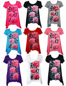 Womens-Ladies-Plus-Size-Floral-Stretch-Glitter-Tunic-Top-14-16-18-20-22-24-26