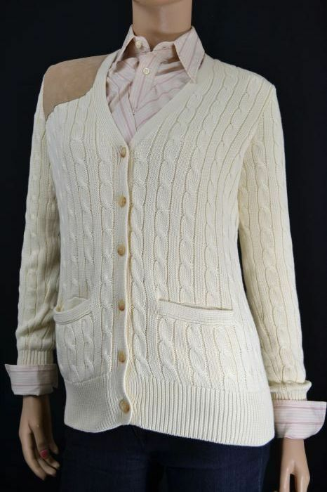 Ralph Lauren CREAM CABLE KNIT SUEDE CARDIGAN SWEATER NWT M