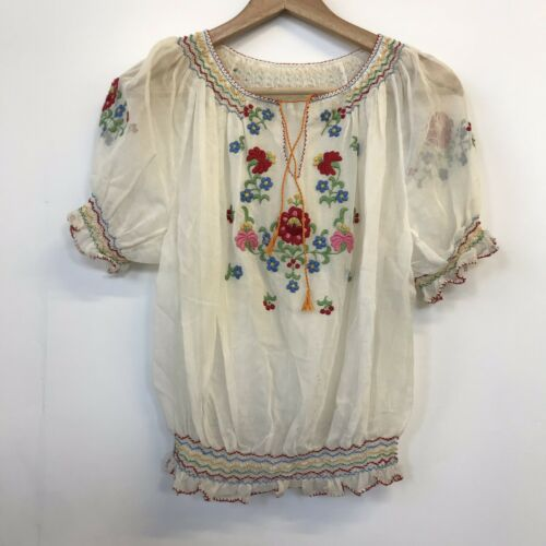 VTG 30's HUNGARIAN TOP~Embroidered Crepe Hippie Bo