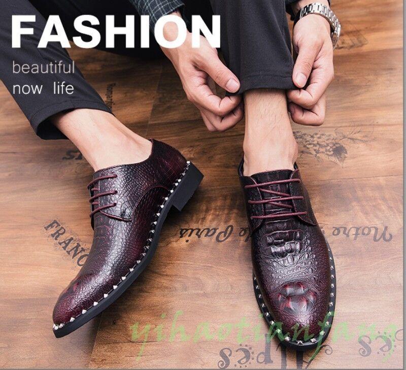 negozio fa acquisti e vendite New New New Fashion Occident Dress Formal scarpe Croco Lace Up Rivet Leather Uomo Wedding  si affrettò a vedere