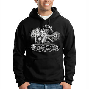 Details about Body Shop Classic Biker Motorcycle Pin Up Model Hooded Sweatshirt Hoodie