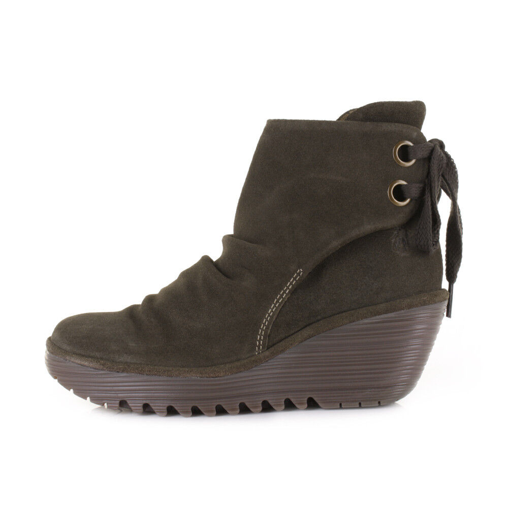 FLY LONDON YAMA ANKLE BOOT WEDGE SLOUCHY LEATHER COMFORT SLUDGE 38 (F3)
