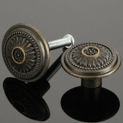 uxcell 17mmx17mm Drawer Door Vintage Style Round Mini Pull Knob Handle 2 Pcs