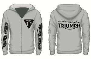Triumph Hoodie BLACK British GB motorbike motorcycle vintage