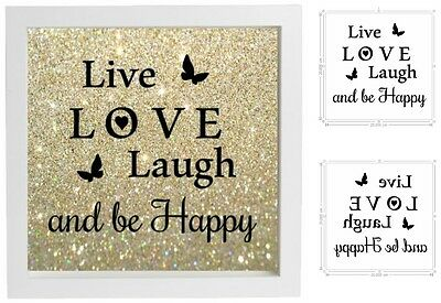 Vinyl Sticker DIY Box Frame LIVE LOVE LAUGH AND BE HAPPY Sticker Normal//Reverse