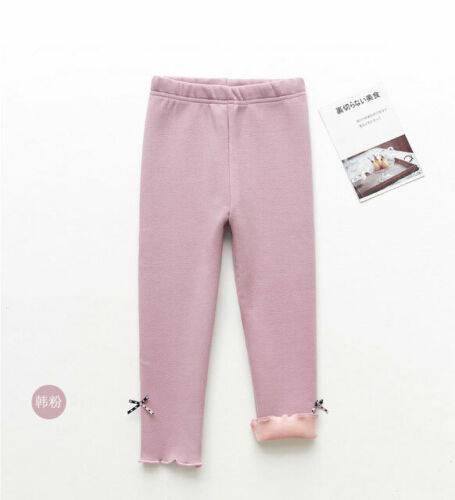New Kids Girls Thermal Cotton Leggings Fleece Lined Pant Stretchy Warm Trousers