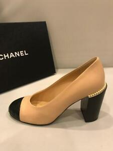 04f9361811d CHANEL 17S Leather Quilted Cap Toe Block Pearl Heel Pump Shoes Beige ...