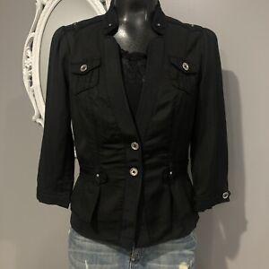 Size-4-WHITE-HOUSE-BLACK-MARKET-Cotton-Blend-3-Qtr-Sleeve-Blazee-Jacket
