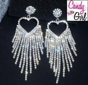 Luxury Crystal Diamante Silver Heart AAA Rhinestone Long Tassel Earrings